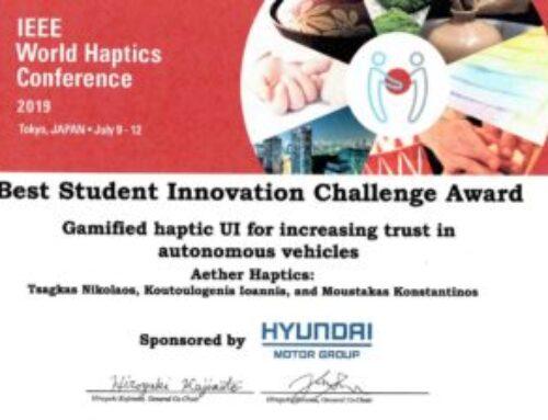 IEEE Worldhaptics 2019, Tokyo : Best Student Innovation Challenge Award